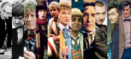 Toutes les incarnations connues du Docteur avec de gauche à droite : William Hartnell, Patrick Troughton, Jon Pertwee, Tom Baker, Peter Davison, Colin Baker, Sylvester McCoy, Paul McGann, Christopher Eccleston, David Tennant et Matt Smith